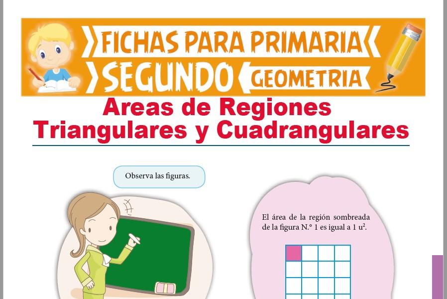 Ficha de Áreas de Regiones Triangulares y Cuadrangulares para Segundo Grado de Primaria