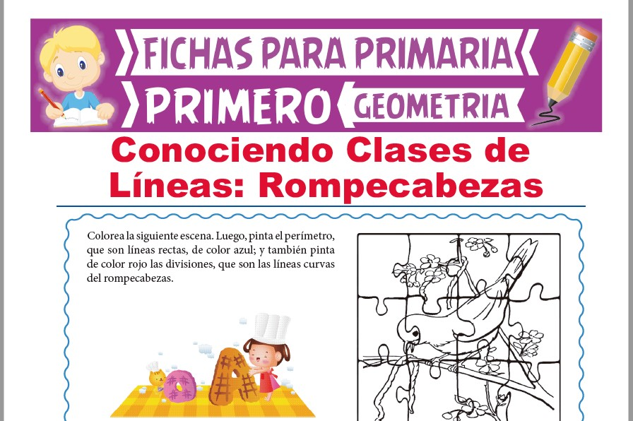 Ficha de Clases de Líneas y Rompecabezas para Primer Grado de Primaria