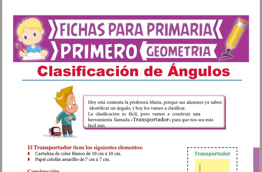 Ficha de Clasificación de Ángulos para Primer Grado de Primaria