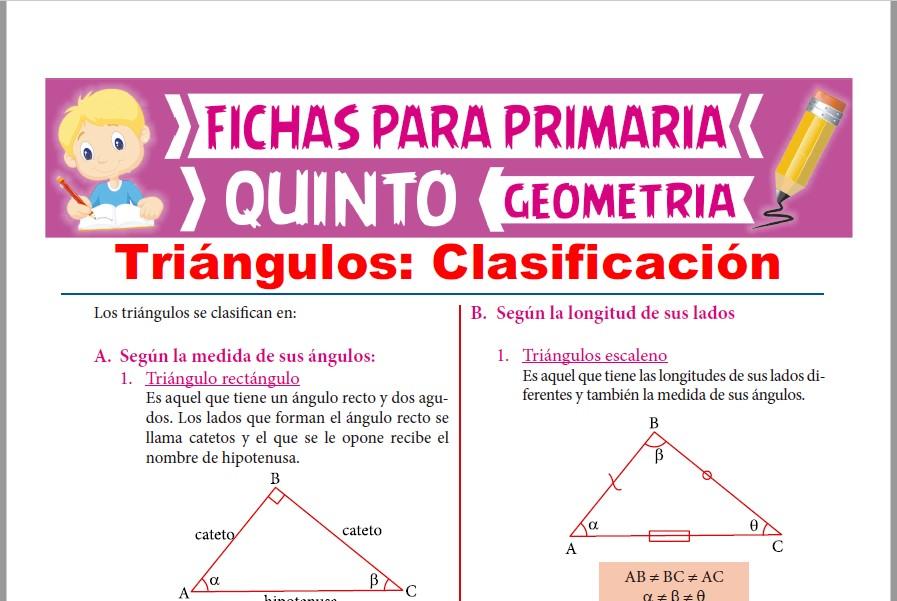 Ficha de Clasificación de los Triángulos para Quinto Grado de Primaria