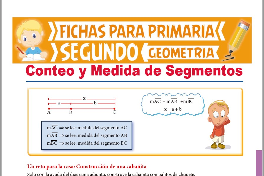 Ficha de Conteo y Medida de Segmentos para Segundo Grado de Primaria