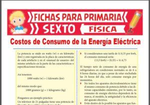 Ficha de Costos de Consumo de la Energía Eléctrica para Sexto Grado de Primaria