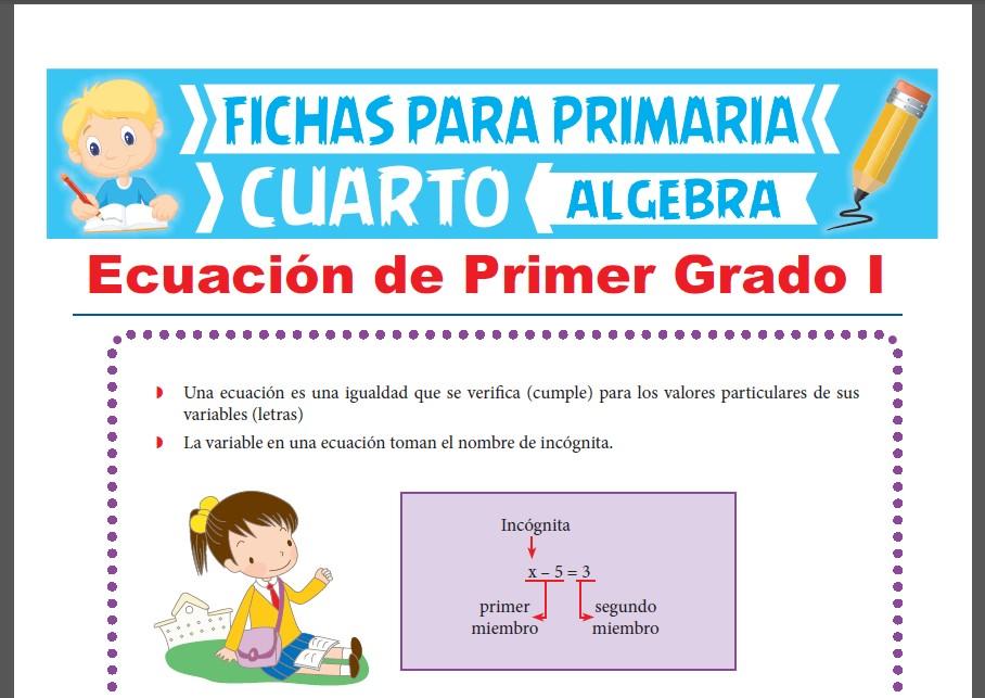 Ficha de Ecuación de Primer Grado para Cuarto Grado de Primaria