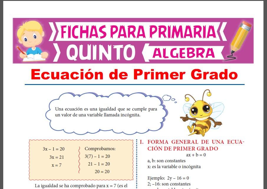 Ficha de Ecuaciones de 1er Grado para Quinto Grado de Primaria