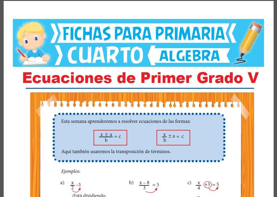 Ficha de Ecuaciones de Primer Grado con Fracciones para Cuarto Grado de Primaria