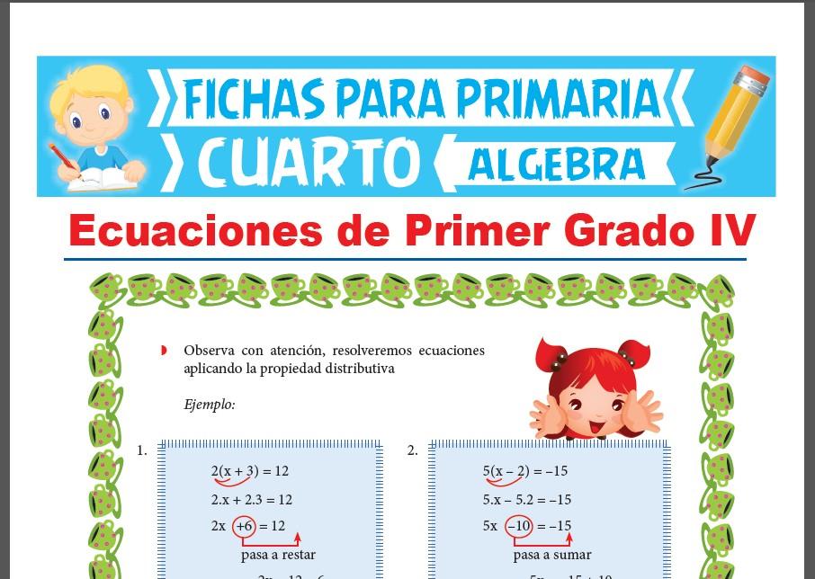 Ficha de Ecuaciones de Primer Grado con Signos de Agrupación para Cuarto Grado de Primaria