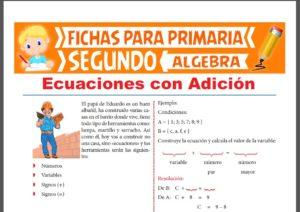 Ficha de Ejercicios de Ecuaciones con Adición para Segundo Grado de Primaria