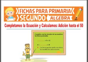 Ficha de Ejercicios de Ecuaciones con Sumas Hasta el 50 para Segundo Grado de Primaria