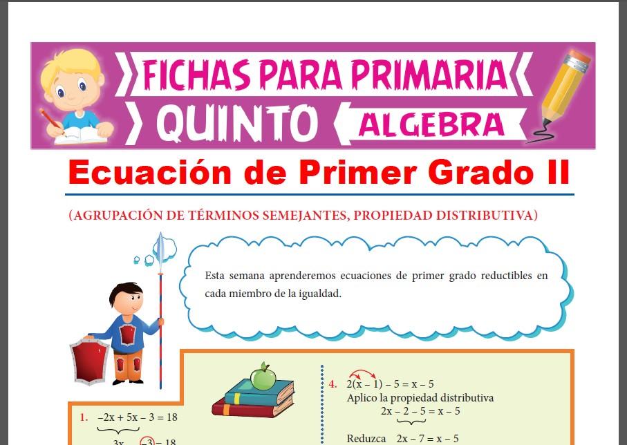 Ficha de Ejercicios de Ecuaciones de 1er Grado para Quinto Grado de Primaria