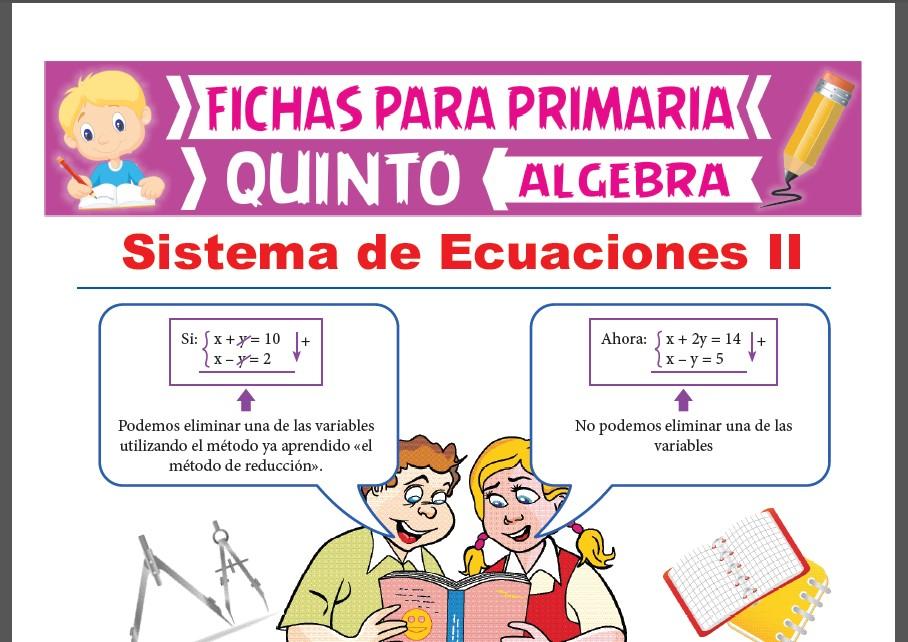 Ficha de Ejercicios de Sistema de Ecuaciones para Quinto Grado de Primaria