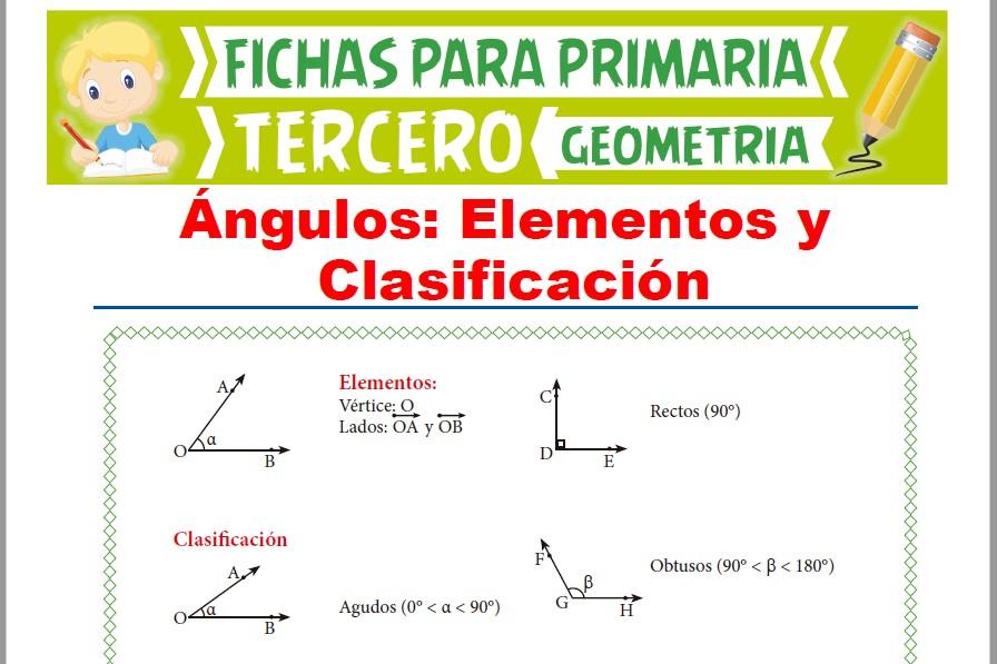Ficha de Elementos y Clasificación de Ángulos para Tercer Grado de Primaria