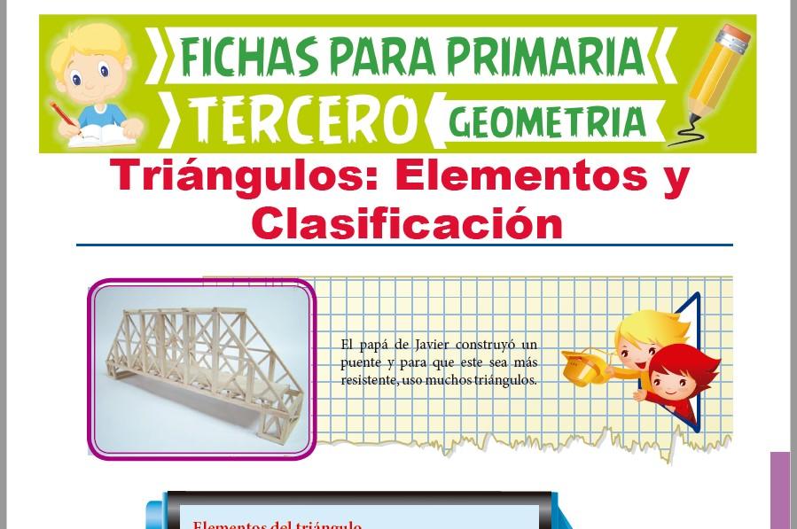Ficha de Elementos y Clasificación de Triángulos para Tercer Grado de Primaria