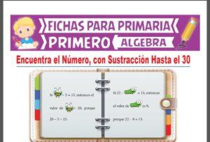 Ficha de Encuentra el Número con Sustracción Hasta el 30 para Primer Grado de Primaria