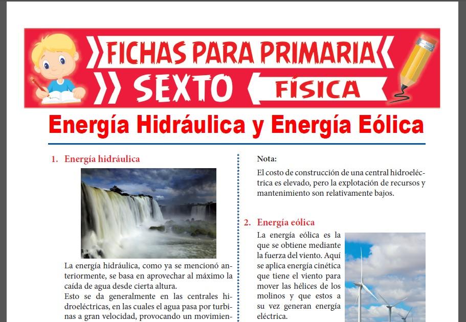 Ficha de Energía Hidráulica y Energía Eólica para Sexto Grado de Primaria