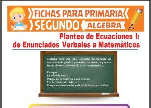 Ficha de Enunciados Verbales a Matemáticos para Segundo Grado de Primaria