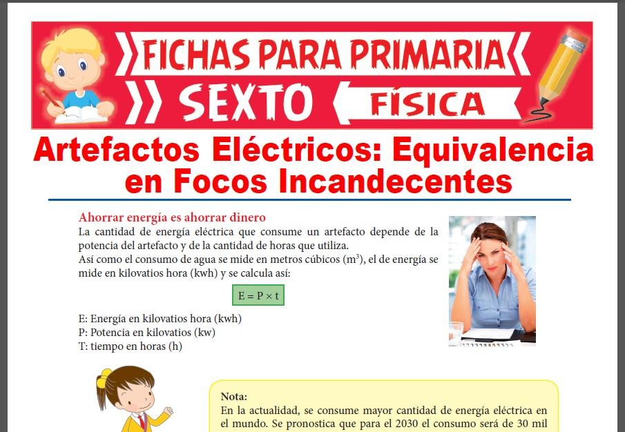 Ficha de Equivalencias en Focos Incandecentes para Sexto Grado de Primaria