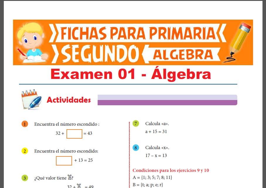 Evaluaciones de Álgebra para Segundo Grado de Primaria