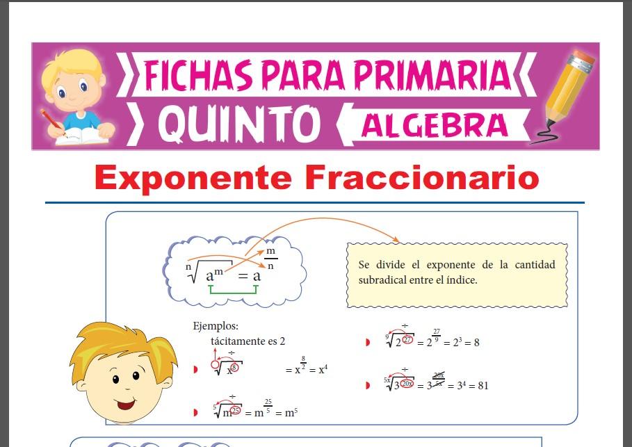 Ficha de Exponente Fraccionario para Quinto Grado de Primaria