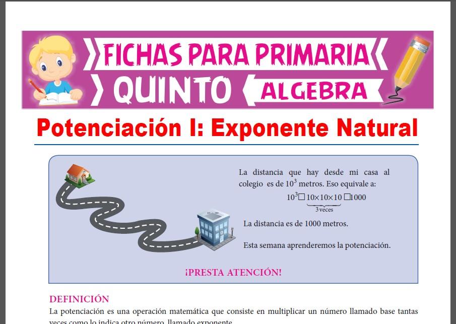 Ficha de Exponente Natural para Quinto Grado de Primaria