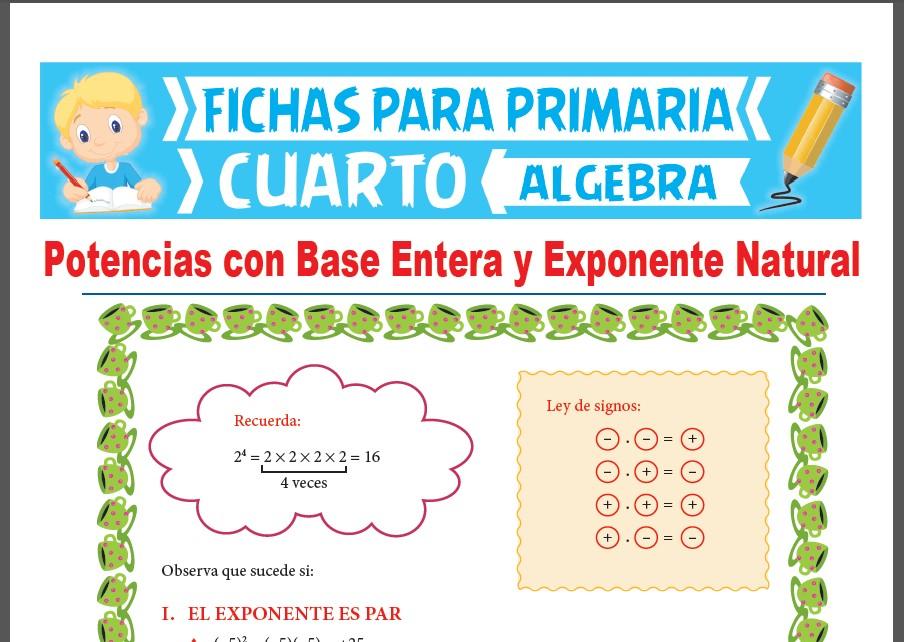 Ficha de Exponente Par e Impar para Cuarto Grado de Primaria