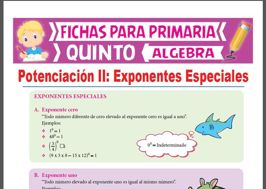 Ficha de Exponentes Especiales para Quinto Grado de Primaria