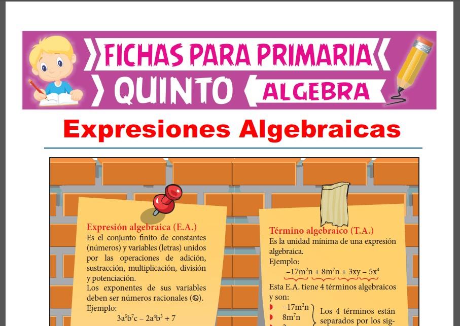 Ficha de Expresiones Algebraicas para Quinto Grado de Primaria