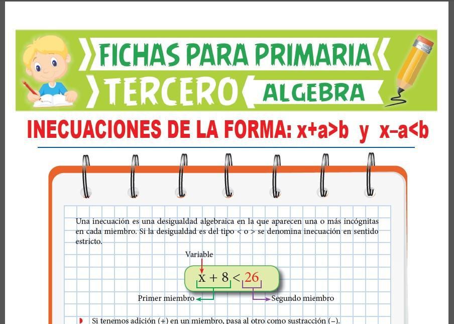 Ficha de Inecuaciones de la Primera Forma para Tercer Grado de Primaria