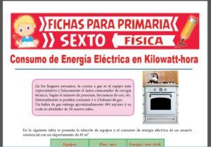 Ficha de Kilowatt por Hora para Sexto Grado de Primaria