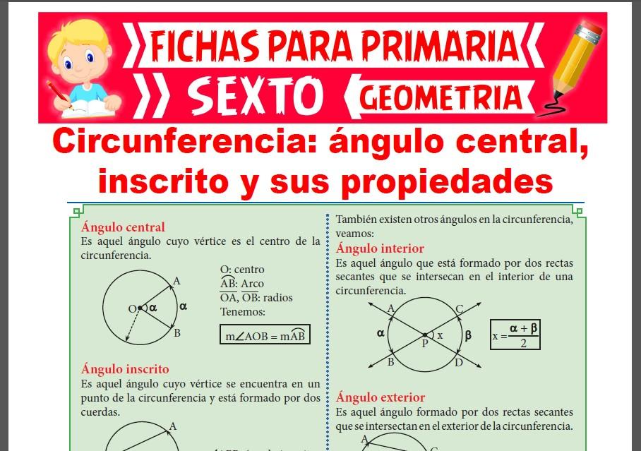 Ficha de La Circunferencia y sus Propiedades para Sexto de Primaria
