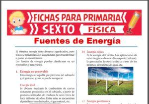 Ficha de Las Fuentes de Energía para Sexto Grado de Primaria