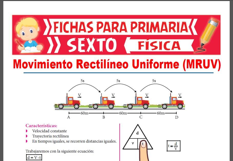 Ficha de MRU para Sexto Grado de Primaria