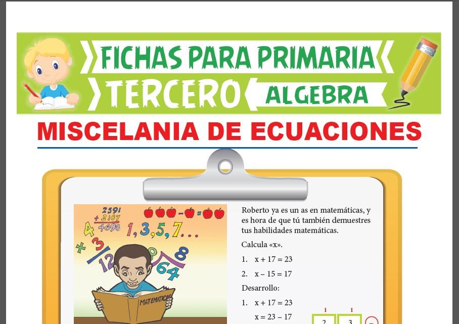 Ficha de Miscelánea de Ecuaciones para Tercer Grado de Primaria