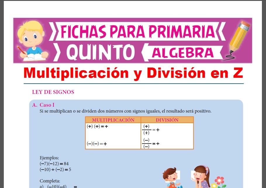 Multiplicación Y División De Números Enteros Para Quinto Grado