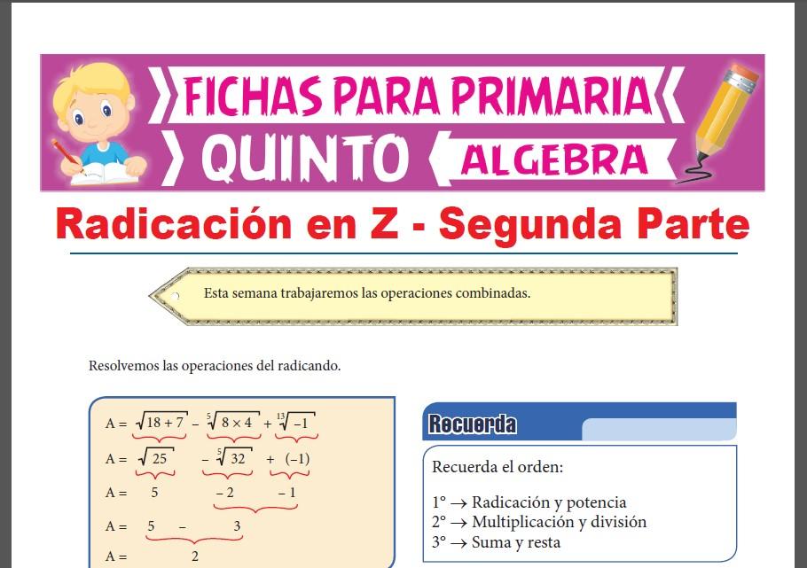 Ficha de Operaciones Combinadas con la Radicación para Quinto Grado de Primaria