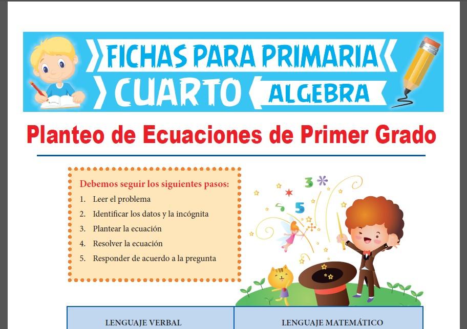 Ficha de Planteo de Ecuaciones de Primer Grado para Cuarto Grado de Primaria