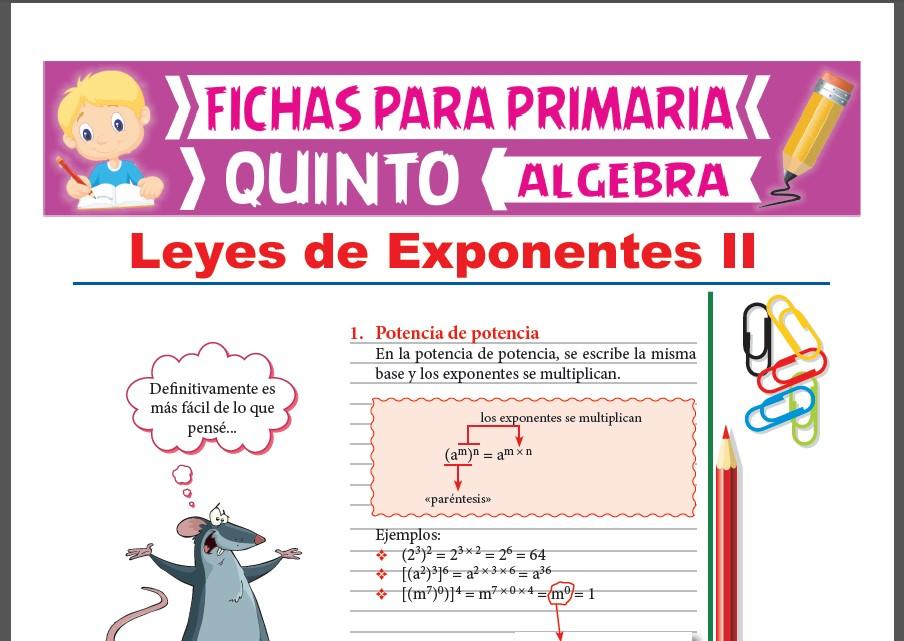 Ficha de Potencia de Potencia y Exponente de Exponente para Quinto Grado de Primaria