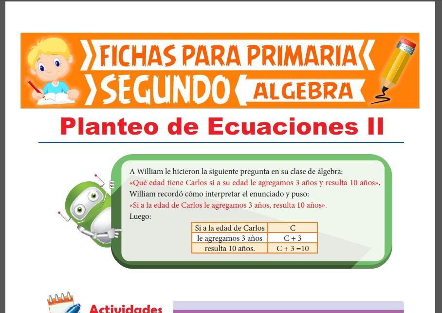 Ficha de Problemas de Planteo de Ecuaciones para Segundo Grado de Primaria