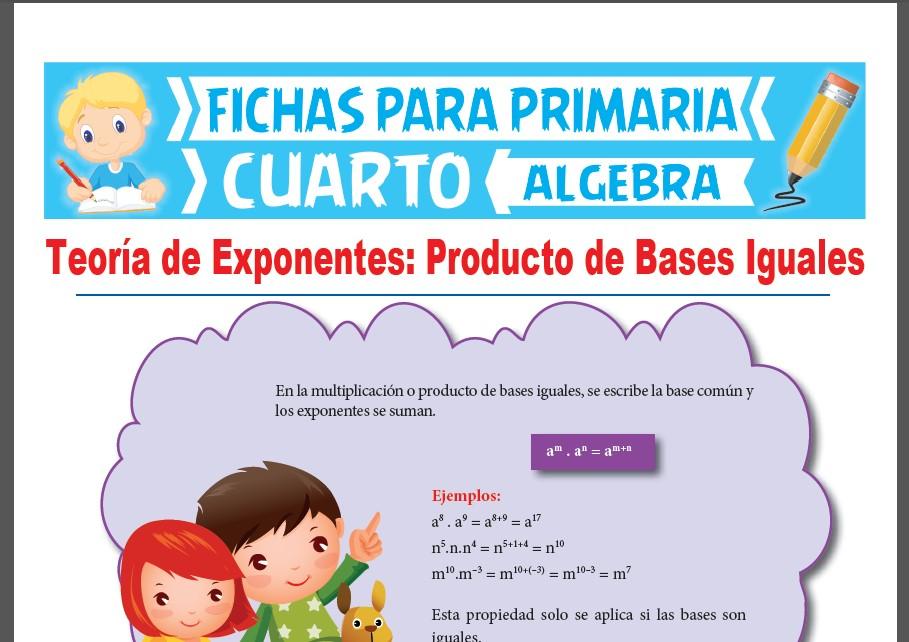 Ficha de Producto de Bases Iguales para Cuarto Grado de Primaria