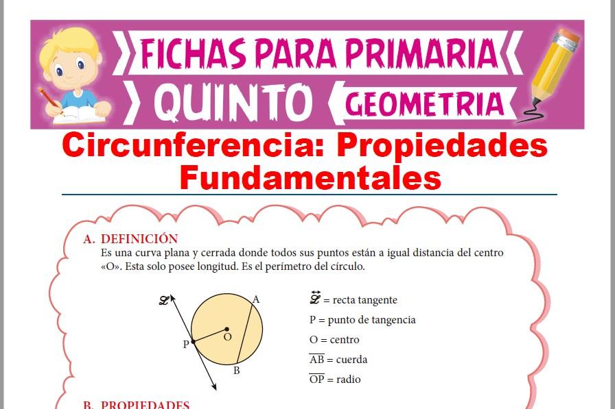 Ficha de Propiedades Fundamentales de la Circunferencia para Quinto Grado de Primaria