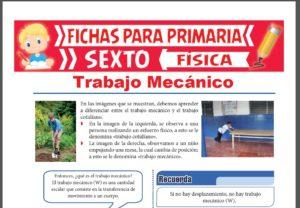 Ficha de Que es el Trabajo Mecánico para Sexto Grado de Primaria
