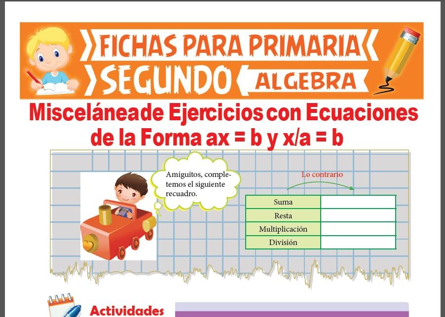 Ficha de Repaso de Ecuaciones con Multiplicación y División para Segundo Grado de Primaria