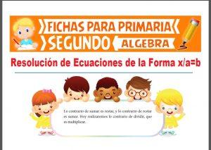 Ficha de Resolución de Ecuaciones con División para Segundo Grado de Primaria