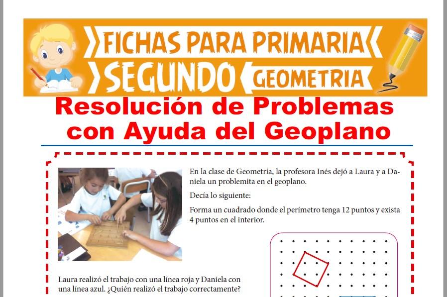 Ficha de Resolución de Problemas con Ayuda del Geoplano para Segundo Grado de Primaria