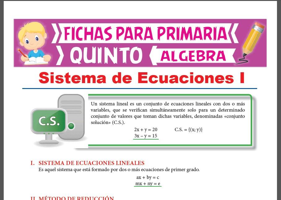 Ficha de Sistema de Ecuaciones Lineales para Quinto Grado de Primaria