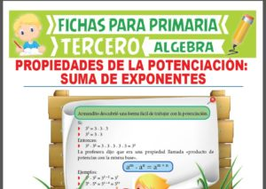 Ficha de Suma de Exponentes para Tercer Grado de Primaria