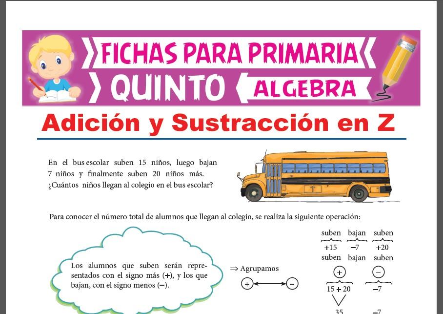 Ficha de Suma y Resta de Números Enteros para Quinto Grado de Primaria