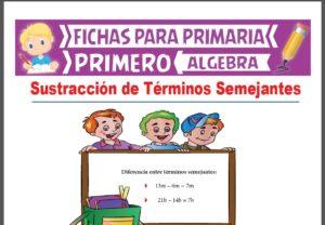 Ficha de Sustracción de Términos Semejantes para Primer Grado de Primaria