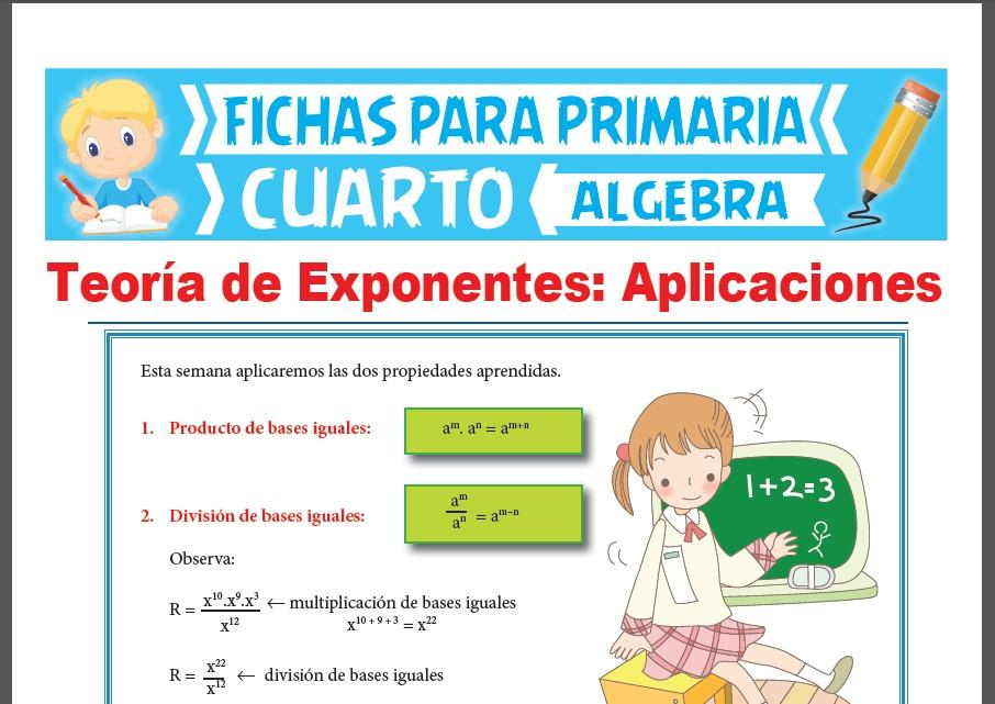Ficha de Teoría de Exponentes para Cuarto Grado de Primaria
