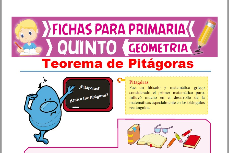 Ficha de Teorema de Pitágoras para Quinto Grado de Primaria
