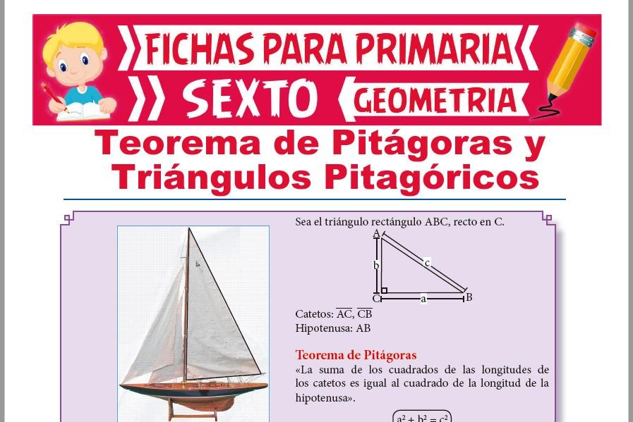 Ficha de Teorema de Pitágoras y Triángulos Pitagóricos para Sexto de Primaria